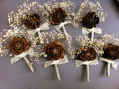 Rustic wedding boutonniere country forest pine cone by MomoRadRose, $11.00