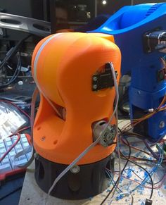 "This is the second version of my Robot Arm. I split up the development, this is the Orange one powered by DC-Motors. Remeber this is not a final "" I Robot, Robot Arm, 3d Printer Projects, 3d Printing Technology, Cnc Plasma, Arduino, Riding Helmets, Diy And Crafts, Two By Two"