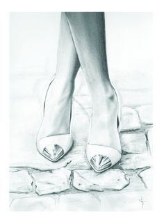 Cute! Fashion Illustration Print 5x7 -'Follow the grey brick road' by Sharntay on Etsy