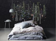 Night Forest Wallpaper Animals Pines Deer Stars Wall Mural Nursery Baby Kids Wall Decal Art Dark Wall Art