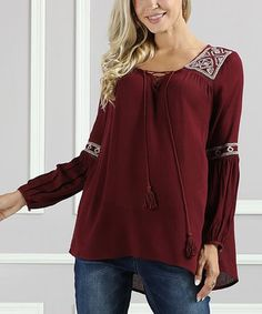 93ae701ea9f Suzanne Betro Raisin Embroidery-Accent Lace-Up Tunic - Plus Too