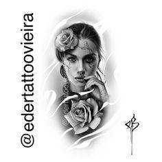 Girl Face Tattoo, Girl Face Drawing, Graffiti Tattoo, Tatoo Manga, Chicano Tattoos, Tattoo Project, Flower Tattoo Designs, Custom Tattoo, Photoshop Design