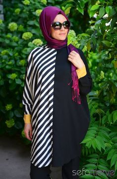 Hijab Tunic1117-02 Black Mustard