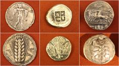Greek Silver Coins (by Mark Cartwright) -- Top row (L to R): Poseidonia BCE) - Silver stater, Poseidon with trident. Corinth BCE) - Silver stater, incuse square of swastika deÉ Silver Investing, History Encyclopedia, Cryptocurrency Trading, Latest Images, Crypto Currencies, Ancient Greek, Silver Coins, Archaeology, Wordpress Theme