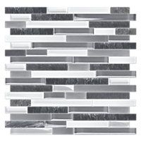 A fresh blend of crisp white and dusty grey glass is intermixed with segments of dark silver grey quartzite to form a mosaic tile with a sleek natural finish. Stone Mosaic Tile, Mosaic Glass, Contemporary Tile, Master Shower, Master Bathroom, Restroom Remodel, The Tile Shop, Grey Glass, Design Consultant