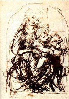"""La vierge, l'Enfant Jésus et un chat Étude pour la """"Vierge au chat"""" Plume sur une feuille avec d'autres dessins 281 x 199 mm Londres, British Museum"""