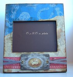 """This is a wonderful wooden picture frame for the little (or big) cowboy in your life . I would make a great addition to any western themed decor. I would also make a great gift.    It is a wooden frame with a glass insert. I have painted the back of th """"Fun colorful picture frames for a very affordable price.  These make great gifts for everyone."""""""