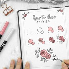Draw and doodle in your bullet journal. how to draw a rose. #bulletjournal #howtodraw #roseillustration