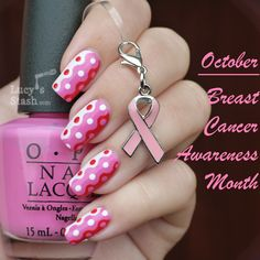 Breast Cancer Awareness manicure - Retro waves and dots - Lucy& Stash Tape Nail Art, Dot Nail Art, Polka Dot Nails, Pink Nails, Breast Cancer Nails, Breast Cancer Awareness, Cute Nails, Pretty Nails, Pink Polish