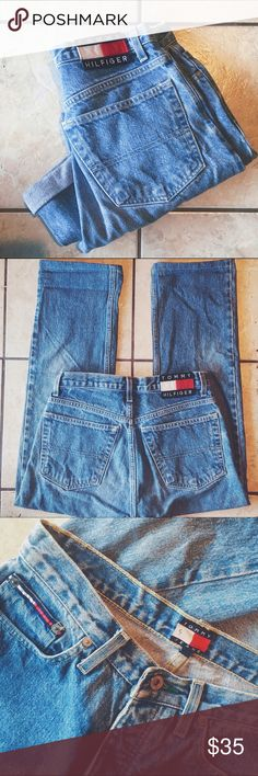 "Tommy Hilfiger Vintage Jeans High waisted Boyfriend style, vintage jeans size 3 or 5, great condition. They say size 5 but I'm typically a size 3 and they fit Perfect on me. Double button wall. I'm 5'5"" and the hem comes a little above the ankle, I always rolled them up a little higher. Adorable ""mom jeans"" look. Only reason I'm getting rid of them is I don't like ""Capri"" style jeans. No rips, snags, or stains. Tommy Hilfiger Jeans Boyfriend"