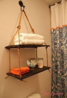diy rope shelving, bathroom ideas, diy, how to, shelving ideas