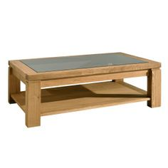 EOS Oak Coffee Table with Glass Top