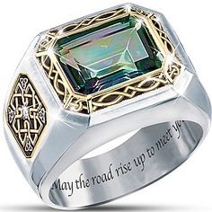 """The Legend Of Ireland"" Mystic Topaz Men's Ring – Rings Mens Gold Rings, Rings For Men, Mens Gemstone Rings, Jewelry Rings, Fine Jewelry, Irish Jewelry, Copper Jewelry, Jewellery, Ring Crafts"