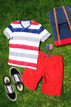 Red, white and blue outfit ideas.