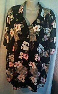 White Stag Plus Hawaiian Shirt  22W 24W Floral Bora Bora Postcard Sayings Black #WhiteStag #Hawaiian #Casual