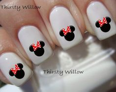 Minnie Mouse Red Bow Nail Decals