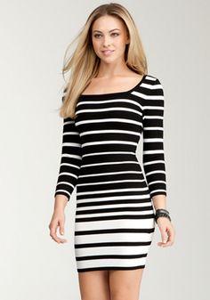 bebe | Wide Multi Stripe Sweater Dress - Sweater Dresses