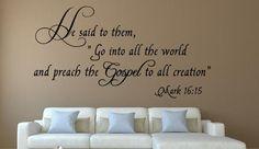 Mark 16:15 Bible Verse Wall Decal