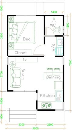 Dream house plans: Small House Plans with One Bedroom Shed roof – Sam House Plans 2020 One Bedroom House Plans, One Bedroom Flat, Small House Floor Plans, Cottage House Plans, Dream House Plans, Bedroom Small, One Bedroom Apartment, Bedroom Floor Plans, Modern Bedroom