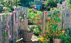Welcome to the cottage garden - Bauerngarten +++ beautiful fences to create a natural garden +++ let us make you a non-binding offe - Backyard Fences, Garden Fencing, Garden Landscaping, Potager Garden, Farmhouse Garden, Garden Cottage, Flower Garden Plans, Flowers Garden, Fence Plants