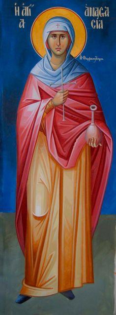Anastasia of Sirmium - December 22 Byzantine Icons, Byzantine Art, St Anastasia, Greek Icons, Orthodox Christianity, I Icon, Orthodox Icons, Christian Art, Kirchen
