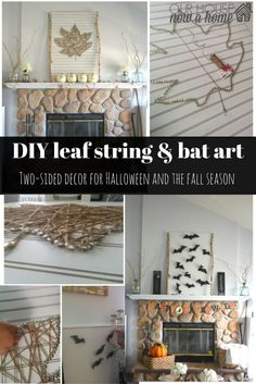 Perfect two sided wall art! This DIY project makes it possible to decorate for Halloween on one side and the fall season on the other! Combining spooky bats, and flip it over to reveal the leaf string art! Love the fireplace mantel decor for both seasons and the step-by-step tutorial