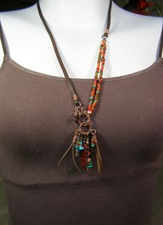 Tribal Necklace - Leather Necklace - Native American - Beaded Necklace - Long Bohemian Necklace - Southwest Jewelry - Statement Necklace