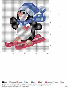 X4 Skiing Penguin Snow Cards Christmas Cross Stitch Chart