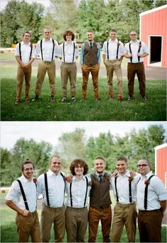 vintage wedding groomsmen | groomsmen in suspenders for farm wedding #groomsmen #suspenders # ...