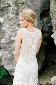 Illusion back wedding dress | Feather & Twine Photography