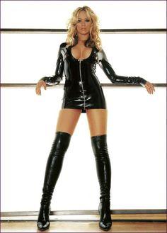 Latex dress long boot