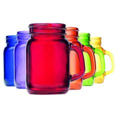 Set of 6 multicolored 5-ounce shooter glasses inspired by mason jars.  Product: 6-Piece stemless wine glass setConst...