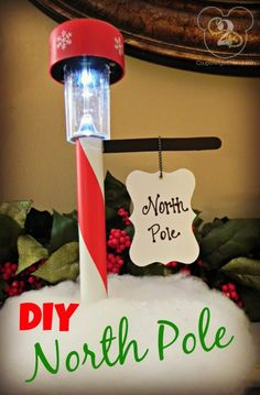Make a North Pole street sign from a dollar store solar light!