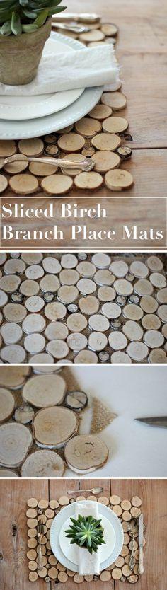 Sliced Birch Branch Place Mats