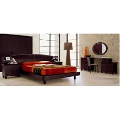 Miss Italia Platform Bed Frame with Lights on the Headboard and Includes 2 Nightstands - Made in Italy