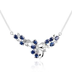 Sapphire Diamond Pendant Necklace | Blue Sapphire and Diamond Necklace in 18kt White Gold