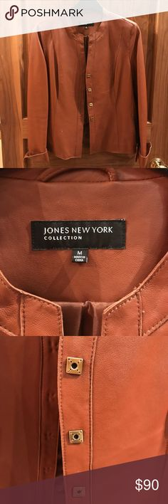 Leather Brown Jacket Soft Caramel Brown Leather Jacket with gold square buttons 100% Leather Great Condition Jones New York Jackets & Coats