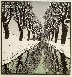 thewoodbetween:  Carl Theodor Thiemann (Austrian, 1881-1966), Bach im Winter II, 1912. Colour woodcut