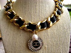 """Chanel Logo Vintage Button- 18K Gold Plated Curb Chain Woven with Italian Leather and Fresh Water Pearl.. 20""""... on Etsy, $143.00"""