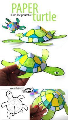Preciosa #manualidad de una tortuga #summer #oceananimals // Glue-less printable turtle