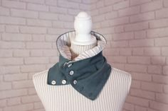 Upcycled cotton knit cowl with buttons petrol blue by annavee, $18.80