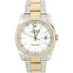 Rolex Datejust Reference Rolex Datejust 116233 Two Tone White dial Unisex Watch. Verified and Certified by WatchFacts. 1 year warranty offered by WatchFacts. Old Watches, Swiss Army Watches, Vintage Watches, Wrist Watches, Nice Watches, Cartier Rolex, Expensive Watches, Beautiful Watches, Elegant Watches