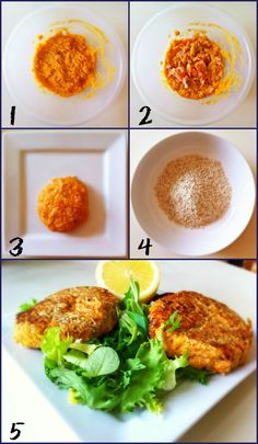 Health Specific Fish Cakes. Perfect for a summer snack!  Preparation: 1. mash some sweet potatoes 2. cook and mix salmon fillets with the mash and eggs 3. shape into fish cakes 4. cover with ground oatmeal 5. cook and enjoy with salad  Calories per fish cake with salad: 306 kcal