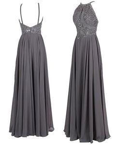 Evening DresElegant A-Line Halter Floor Length Beading Grey Chiffon Evening Dress Prom Dress