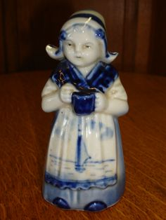 Beautiful Porcelain Delft Dutch Figurine Bell from mrbeasleys on Ruby Lane