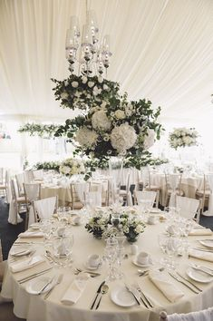 All White Marquee Reception | Cherish by Suzanne Neville | Luxury Coastal Wedding At Oldwalls | White on White Colour Scheme Images by Marc Smith Photography | http://www.rockmywedding.co.uk/tassy-chris/