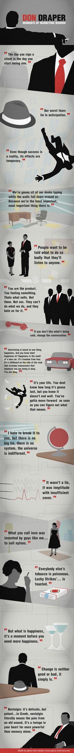 16 sabias frases sobre el mundo de la publicidad de la mano del gran Don Draper - See more at: http://www.marketingdirecto.com/actualidad/infografias/16-sabias-frases-sobre-el-mundo-de-la-publicidad-de-la-mano-del-gran-don-draper/#sthash.4yYwNJa2.dpuf