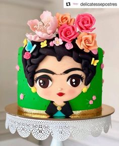 51 ideas baking desserts creative kids for 2019 Pretty Cakes, Cute Cakes, Fondant Cakes, Cupcake Cakes, Buttercream Cupcakes, Frida Kahlo Party Decoration, Frida Kahlo Birthday, Mexican Birthday, Birthday Cake Girls