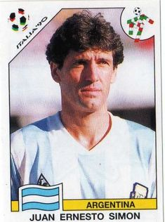 Juan Simon of Argentina. 1990 World Cup Finals card. Uefa Football, Football Fans, America Album, Player Card, Football Stickers, World Cup Final, Fifa World Cup, Soccer, Baseball Cards