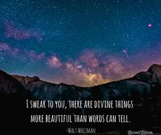 I swear to you, there are divine things more beautiful than anyone can tell quote by Walt Whitman. Nature Quotes. #NatureQuotes #Nature #NatureQuotesEbook